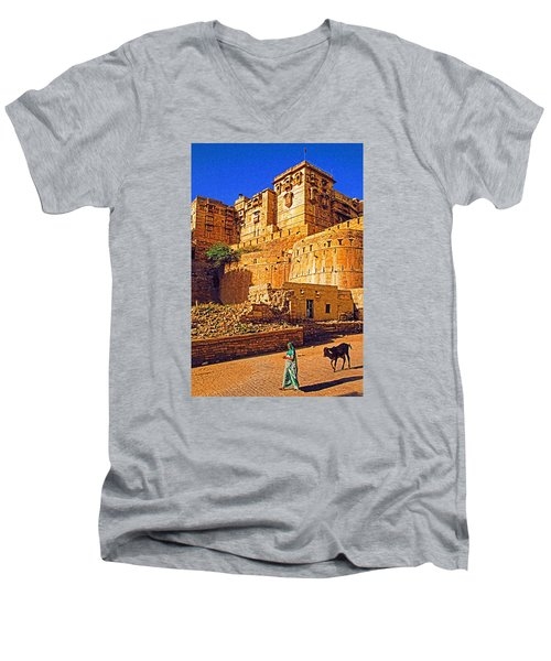 Men's V-Neck T-Shirt featuring the photograph Rajasthan Fort by Dennis Cox WorldViews