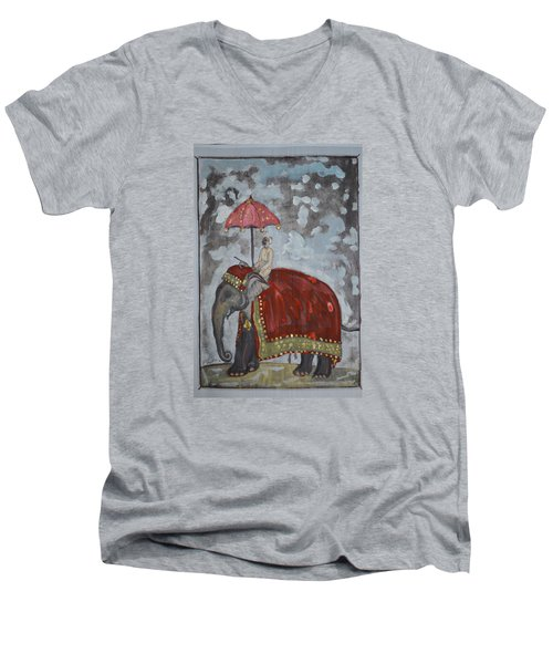 Men's V-Neck T-Shirt featuring the painting Rajasthani Elephant by Vikram Singh