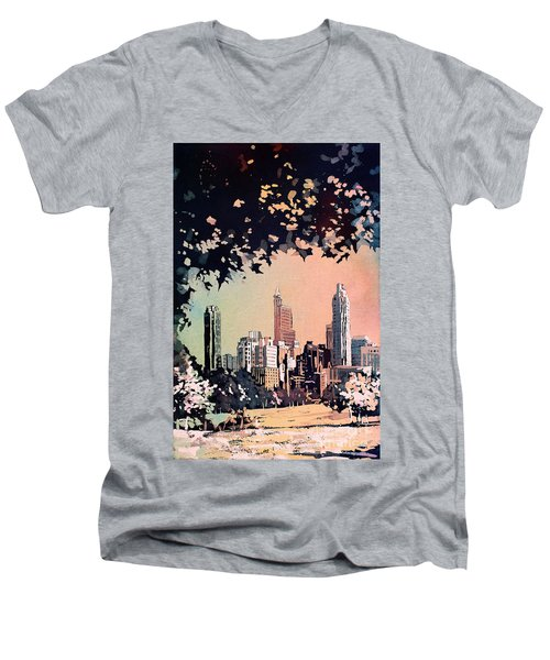 Men's V-Neck T-Shirt featuring the painting Raleigh Skyline V by Ryan Fox
