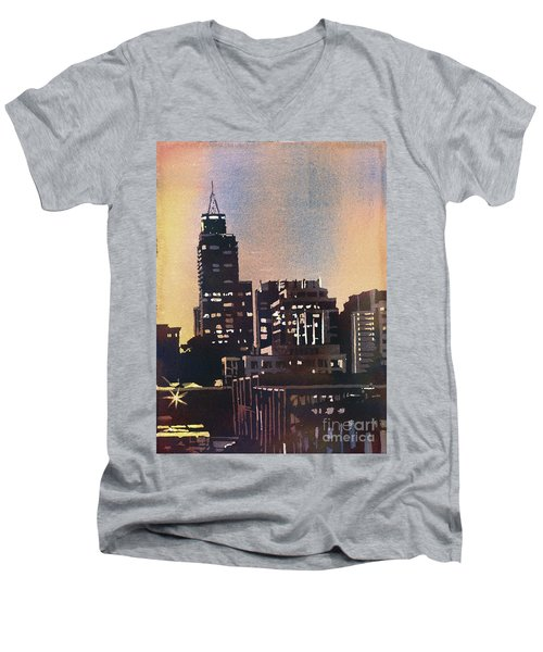 Raleigh Skyscrapers Men's V-Neck T-Shirt by Ryan Fox