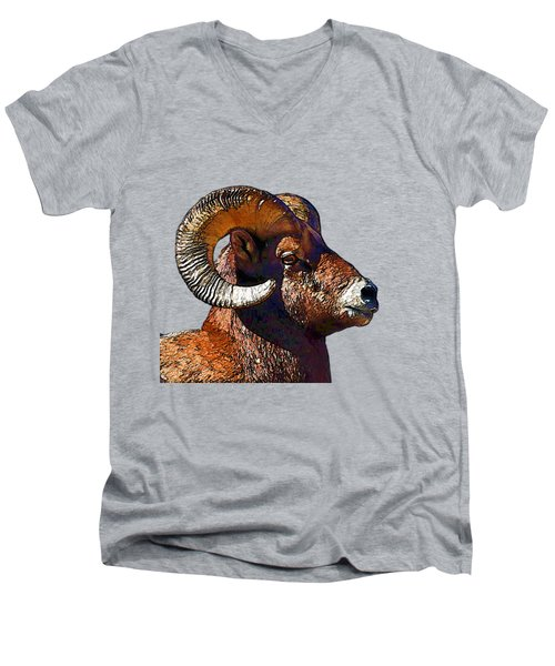 Ram Portrait - Rocky Mountain Bighorn Sheep  Men's V-Neck T-Shirt by Lena  Owens OLena Art