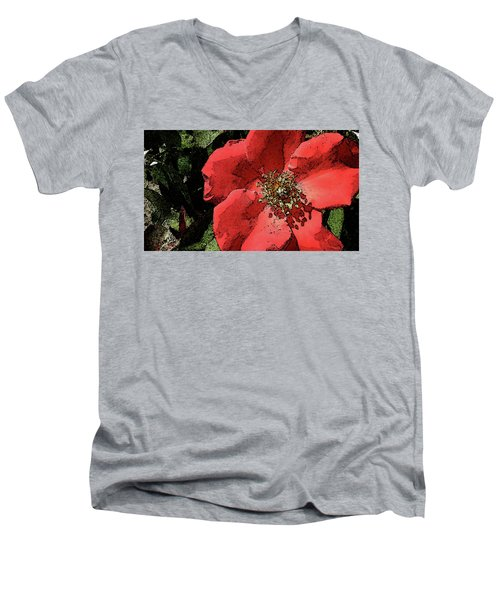 Rambling Rose Men's V-Neck T-Shirt by Donna G Smith
