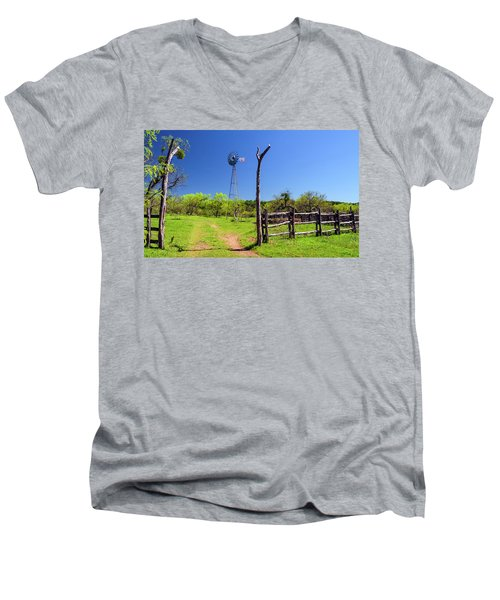 Ranch At Click Gap II Men's V-Neck T-Shirt by Greg Reed