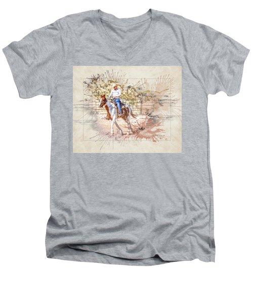 Ranch Rider Digital Art-b1 Men's V-Neck T-Shirt