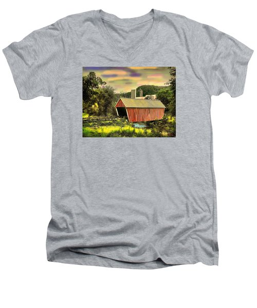 Men's V-Neck T-Shirt featuring the digital art Randolf Covered Bridge by John Selmer Sr