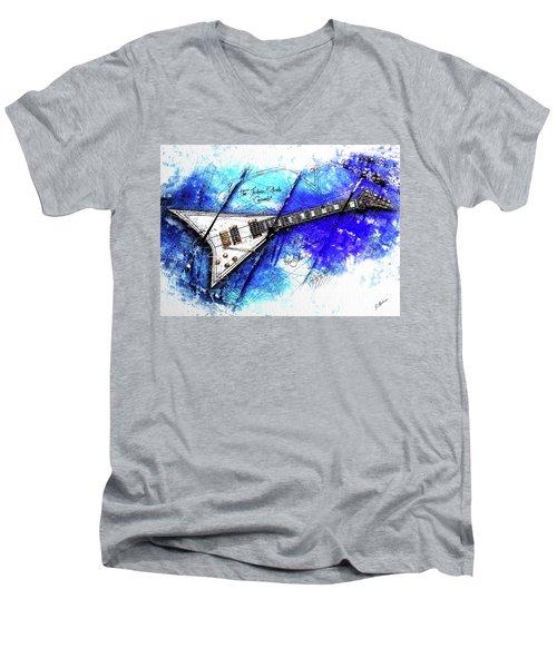 Randy's Guitar On Blue II Men's V-Neck T-Shirt