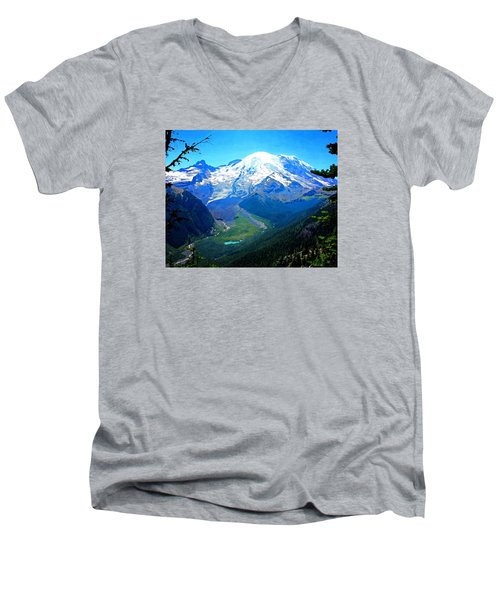 Ranier And Little Tahoma Men's V-Neck T-Shirt by Timothy Bulone