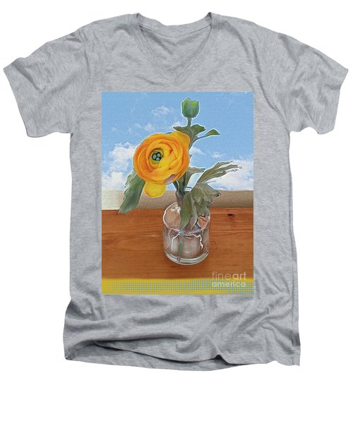 Men's V-Neck T-Shirt featuring the digital art Ranunculus Spring by Alexis Rotella