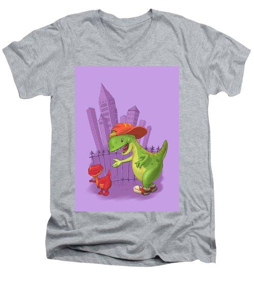 Rap-rap Raptor City Men's V-Neck T-Shirt