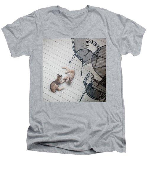 Wrestling Lynx Men's V-Neck T-Shirt