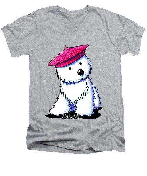Raspberry Beret Westie Men's V-Neck T-Shirt