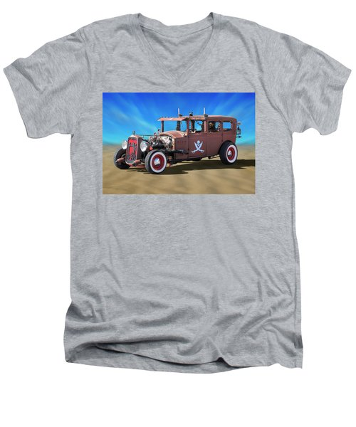 Men's V-Neck T-Shirt featuring the photograph Rat Rod On Beach 3 by Mike McGlothlen