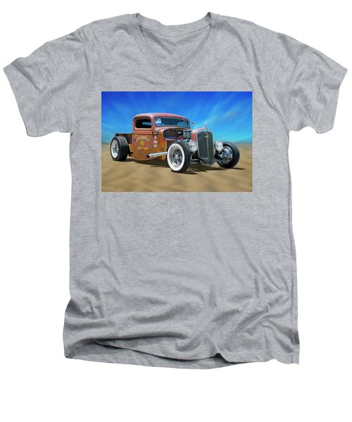 Men's V-Neck T-Shirt featuring the photograph Rat Truck On The Beach by Mike McGlothlen