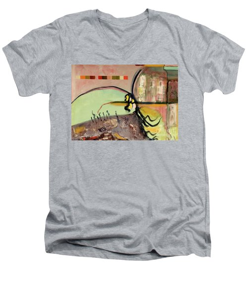 Men's V-Neck T-Shirt featuring the painting Rational Thought Begins Here by Paul McKey