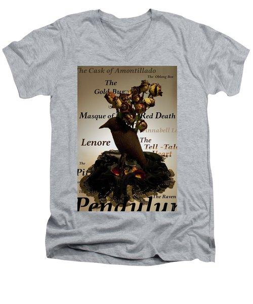 Raven And Roses Men's V-Neck T-Shirt