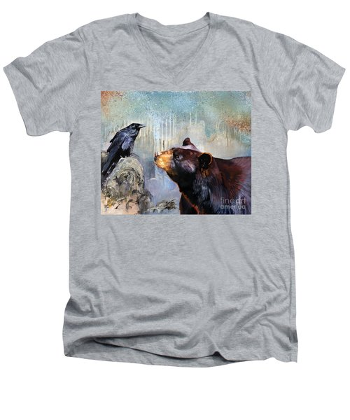Raven And The Bear Men's V-Neck T-Shirt
