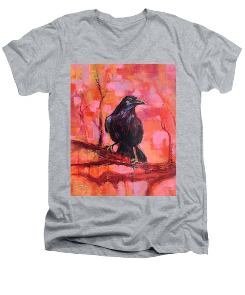 Raven Bright Men's V-Neck T-Shirt by Mary Schiros