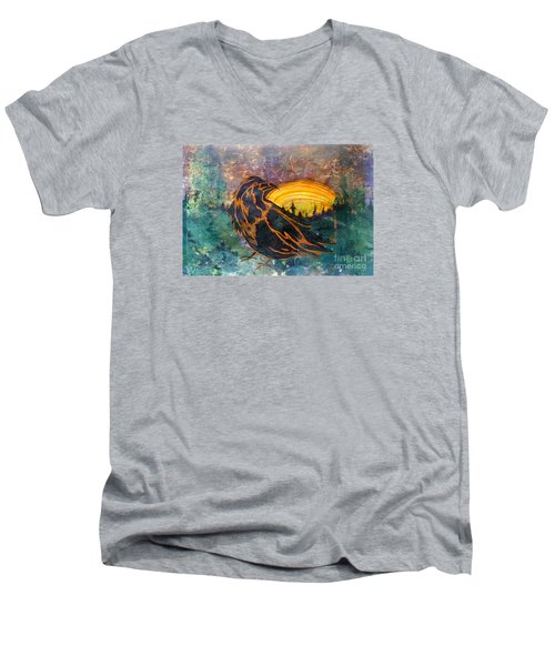 Men's V-Neck T-Shirt featuring the mixed media Raven Of The Woods by Cynthia Lagoudakis
