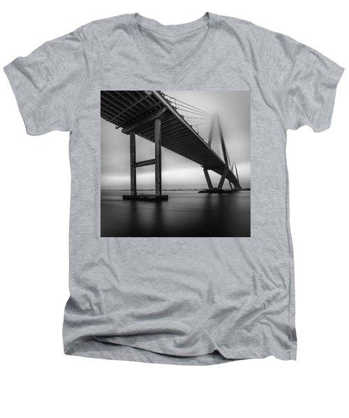 Men's V-Neck T-Shirt featuring the photograph Ravenel Bridge November Fog by Donnie Whitaker