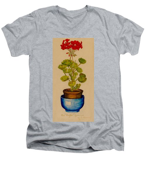 Ray-bet Geranium Men's V-Neck T-Shirt