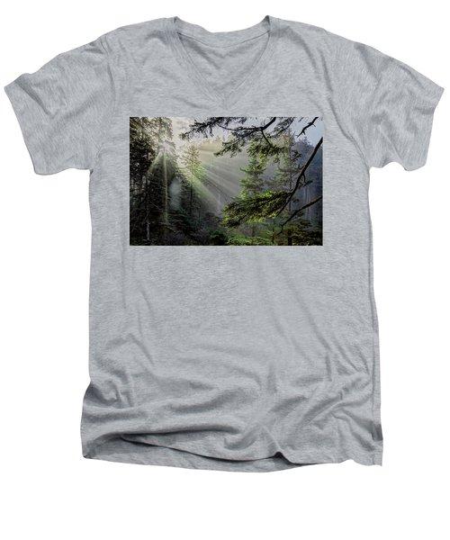 Morning Rays Through An Oregon Rain Forest Men's V-Neck T-Shirt