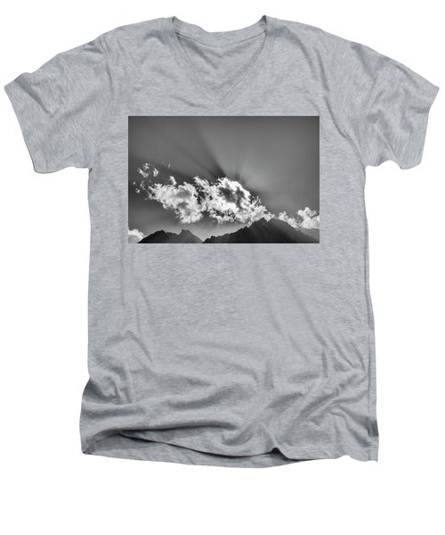 Men's V-Neck T-Shirt featuring the photograph Rays Through Clouds, Keylong, 2005 by Hitendra SINKAR