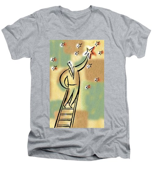 Men's V-Neck T-Shirt featuring the painting Reaching For The Star by Leon Zernitsky
