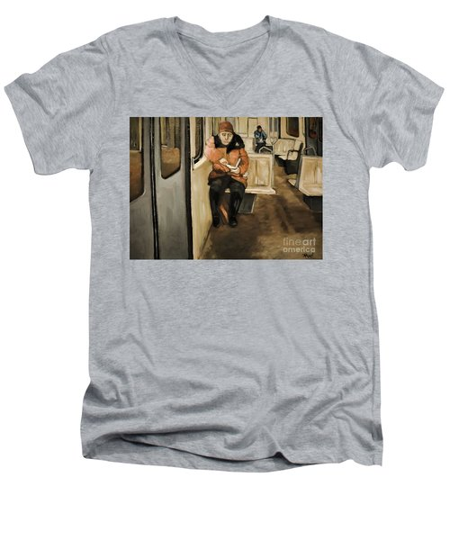 Reader On The Metro Men's V-Neck T-Shirt