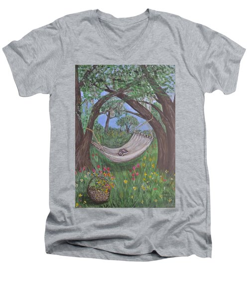 Men's V-Neck T-Shirt featuring the painting Reading Time by Debbie Baker