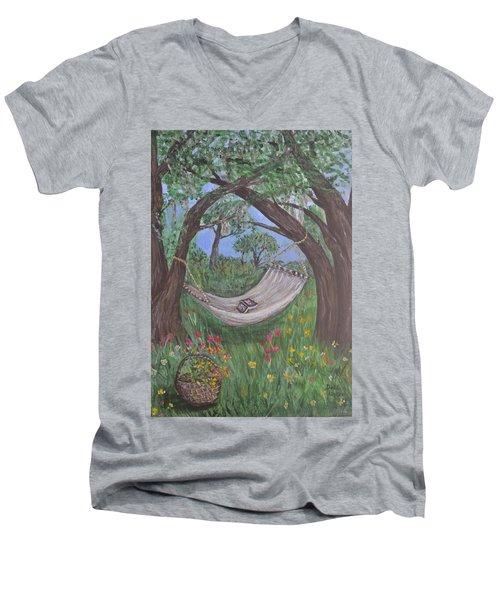 Reading Time Men's V-Neck T-Shirt by Debbie Baker