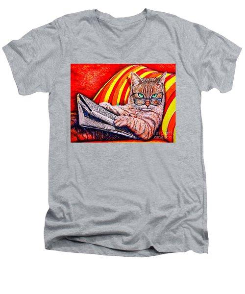 Reading Men's V-Neck T-Shirt by Viktor Lazarev