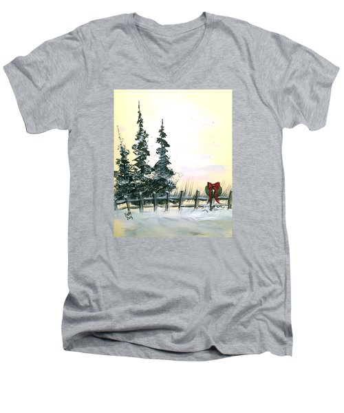 Men's V-Neck T-Shirt featuring the painting Ready For Holidays by Dorothy Maier