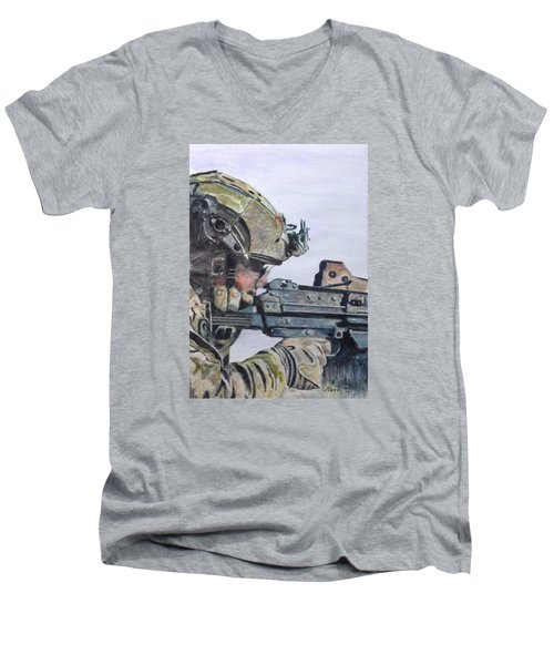 Men's V-Neck T-Shirt featuring the painting Ready by Stan Tenney