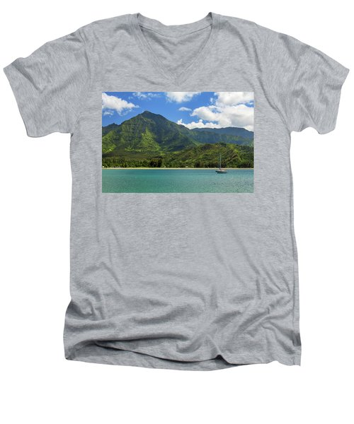Ready To Sail In Hanalei Bay Men's V-Neck T-Shirt by James Eddy