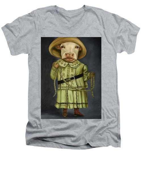Men's V-Neck T-Shirt featuring the painting Real Cowgirl 2 by Leah Saulnier The Painting Maniac