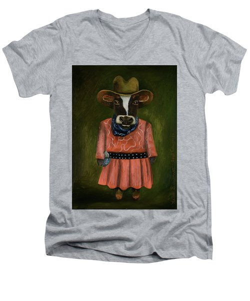 Men's V-Neck T-Shirt featuring the painting Real Cowgirl by Leah Saulnier The Painting Maniac