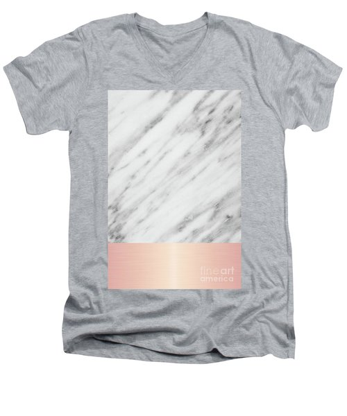 Real Italian Marble And Pink Men's V-Neck T-Shirt