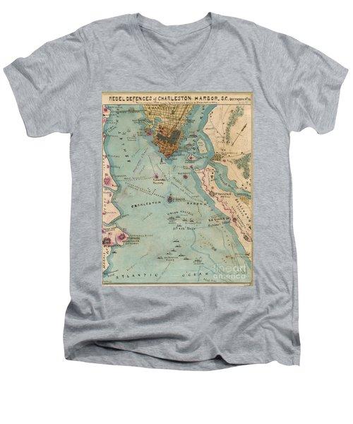 Rebel Defenses Of Charleston Harbor Men's V-Neck T-Shirt