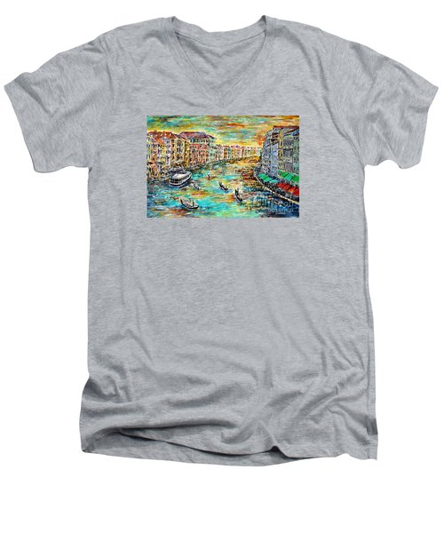 Recalling Venice Men's V-Neck T-Shirt by Alfred Motzer