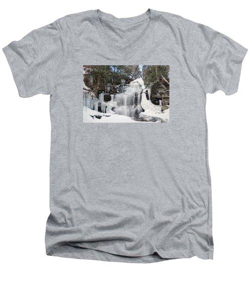 Receding Winter Ice At Ganoga Falls Men's V-Neck T-Shirt by Gene Walls