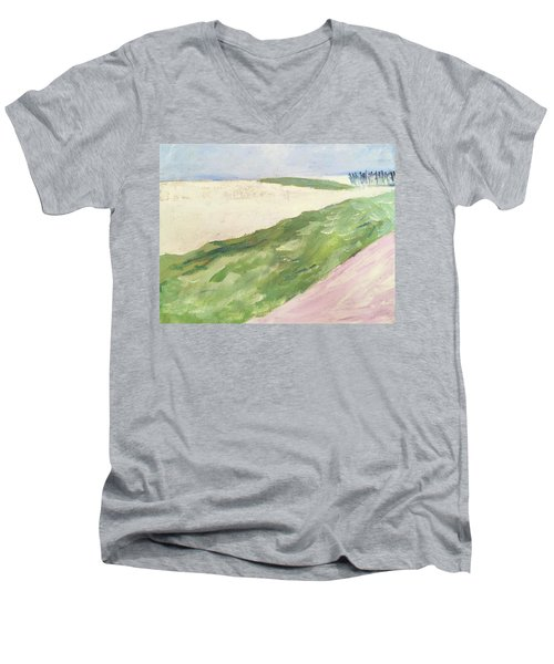 Men's V-Neck T-Shirt featuring the painting Recompense by Angela Annas