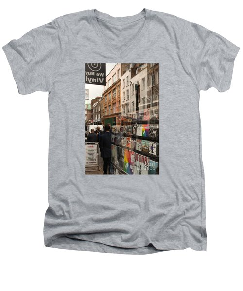 Records Store Windows Reflection  Men's V-Neck T-Shirt