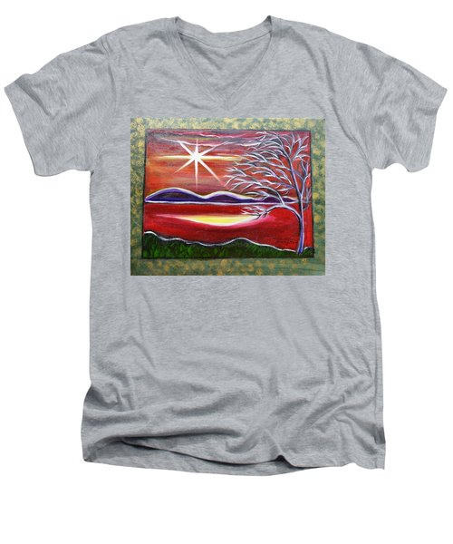 Red Abstract Landscape With Gold Embossed Sides Men's V-Neck T-Shirt