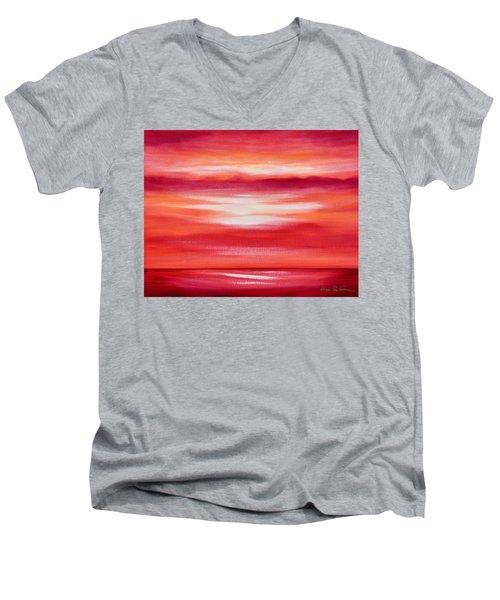 Red Abstract Sunset Men's V-Neck T-Shirt