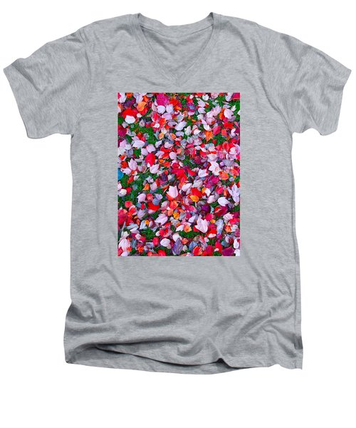 Red And Green Leaves Men's V-Neck T-Shirt by Suzanne Lorenz