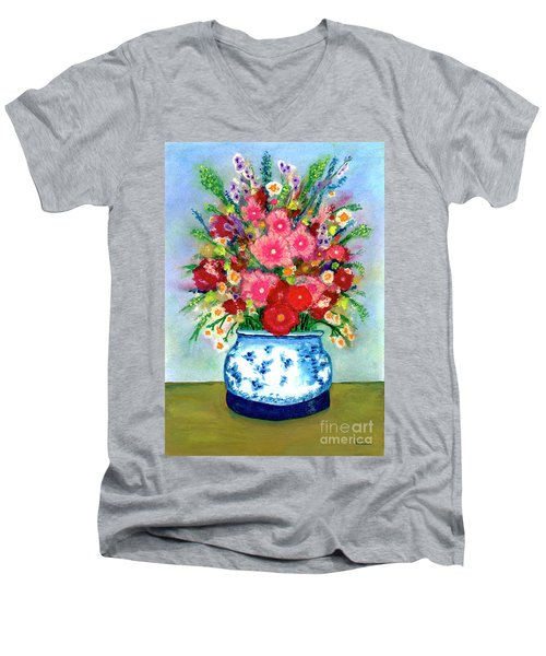 Red And Pink Rose Flower Garden Still Life Painting 615 Men's V-Neck T-Shirt