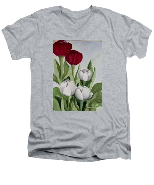 Red And White Tulips Men's V-Neck T-Shirt