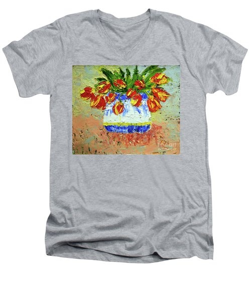 Red And Yellow Tulips Men's V-Neck T-Shirt by Lynda Cookson