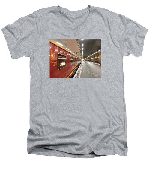 Red Arrow Express Men's V-Neck T-Shirt by Margaret Brooks