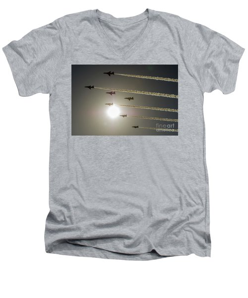 Men's V-Neck T-Shirt featuring the photograph Red Arrows Backlit Arrival  by Gary Eason